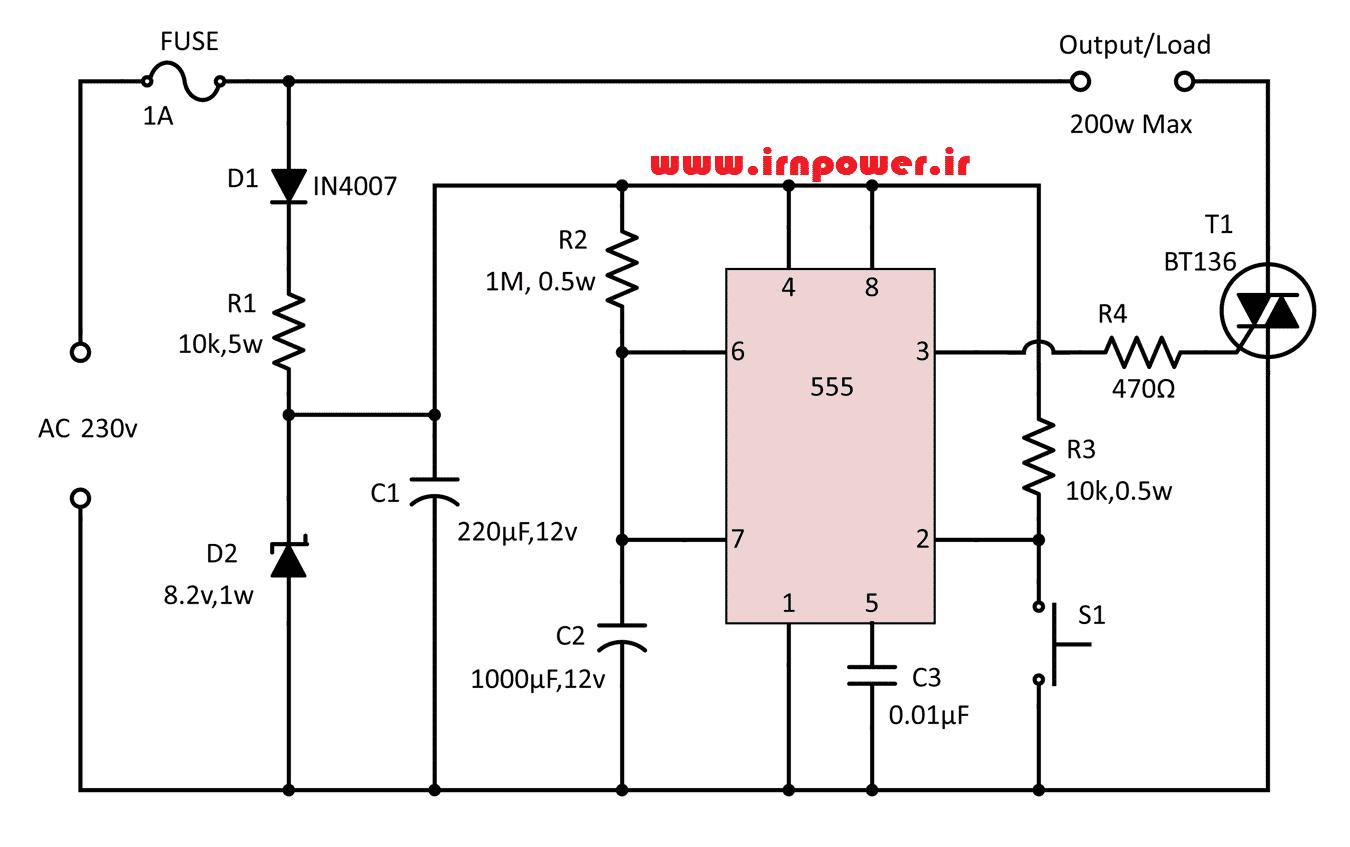 مدار تایمر قابل تنظیم با 555 به همراه توضیح عملکرد
